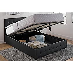 DHP Cambridge Upholstered Faux Leather Platform Bed with Wooden Slat Support and Under Bed Storage, Button Tufted Headboard Queen Size - Black