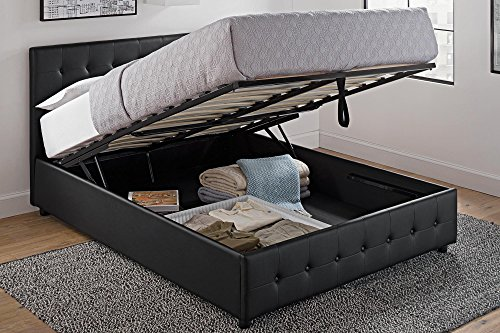 Headboard Queen Complete Set - DHP Cambridge Upholstered Faux Leather Platform Bed with Wooden Slat Support and Under Bed Storage, Button Tufted Headboard Queen Size - Black