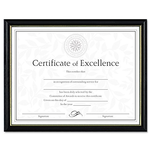 DAX N17981BT Two-Tone Document/Diploma Frame, Wood, 8 1/2 x 11, Black w/Gold Leaf Trim