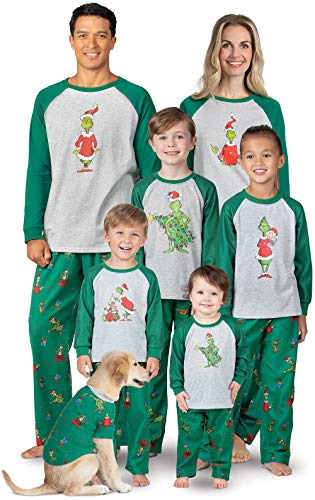 PajamaGram Fun The Grinch Pajamas - Family Christmas Pajamas Set, Gray