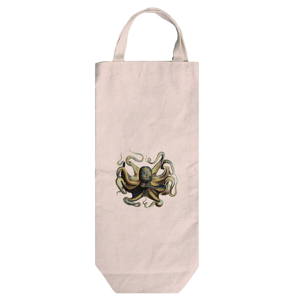 Canvas Wine Bag Tote With Handles Octopus Vintage Look #2 By Style In Print by Style in Print (Image #1)