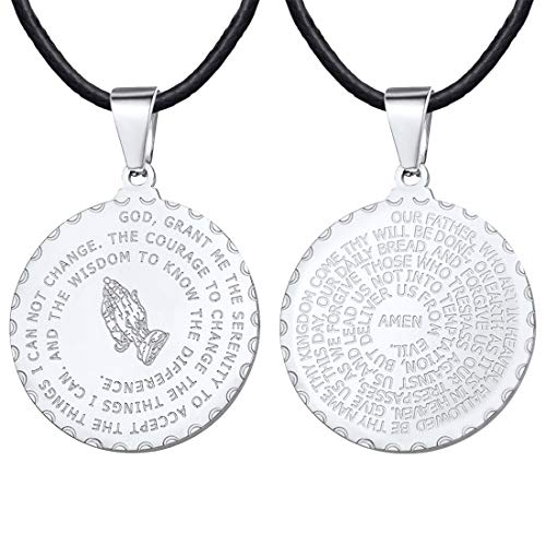 U7 Men Women Bible Verse Prayer Necklace with 2mm Black Leather Chain 24