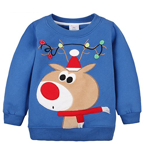 2018 Baby Toddler Girl Boy Christmas Sweater Cute Cotton Pullover Sweatshirt (2-3 Years old, Blue Deer)
