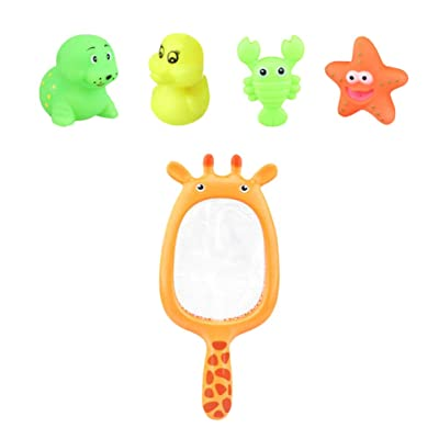 NUOBESTY 5pcs Bath Toy Set Soft Plastic Sea Animal Fish Water Floating Toy with Fish Net Bathtub Toys Shower Toys for Babies Toddlers: Toys & Games