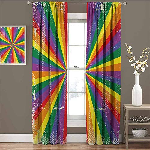 GUUVOR Pride All Season Insulation Radial Vintage Style Scratched Backdrop for Homosexual Gay Lesbian Couples Print Noise Reduction Curtain Panel Living Room W42 x L84 Inch Multicolor
