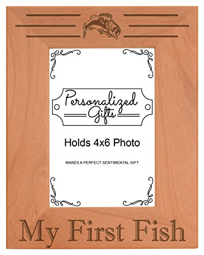 ThisWear 4x6 Fishing Frame My First Fish Picture Frame Fishing Gift Wood Engraved 4x6 Portrait Picture Frame (Pole With Picture Fishing Frames)