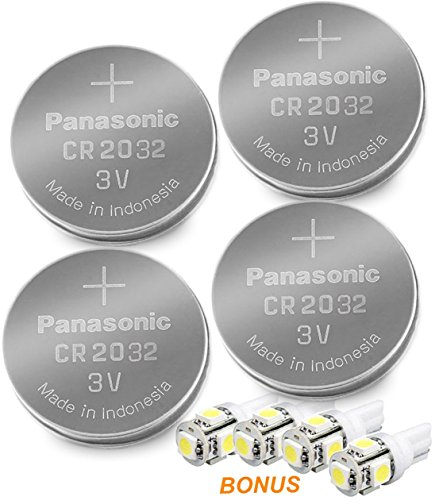 Panasonic ( 4 X - CR2032 + 4 Bonus LED Bulbs ) Lithium Coin Cell Battery