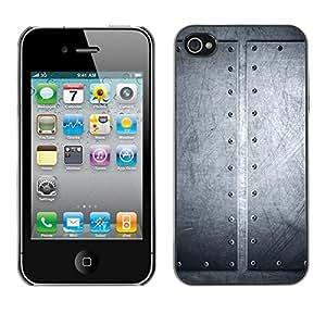 Híbridos estuche rígido plástico de protección con soporte para el Apple iPhone 4 / 4S - brushed aluminum riveted