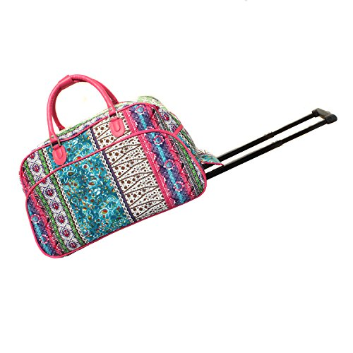 World Traveler 21-Inch Carry-On Rolling Duffel Bag, Bohemian