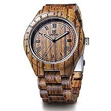 Men's Zebra Wood Watch,BIOSTON Natural Luxury Golden Design Wrist Watches,Handmade Wooden Watch