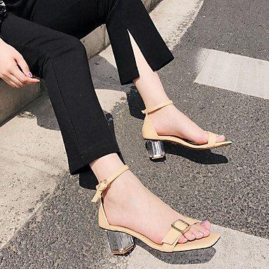 LvYuan Mujer Sandalias Confort PU Verano Confort Tacón Bajo Blanco Amarillo 7'5 - 9'5 cms White