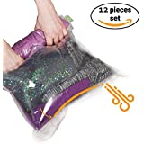 12 Travel Storage Bags for Clothes - Compression Bags for Travel - No Vacuum Sacks-Save Space in your Luggage