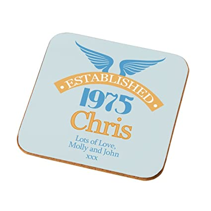 Personalised 40th Birthday Coaster Mens Presents Gifts For Him Amazoncouk Kitchen Home