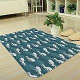 TecBillion Modern Carpet,Octopus,for Living Room Bathroom,35.43''x47.24'',Octopus Silhouette Animal Ocean Theme Nautical