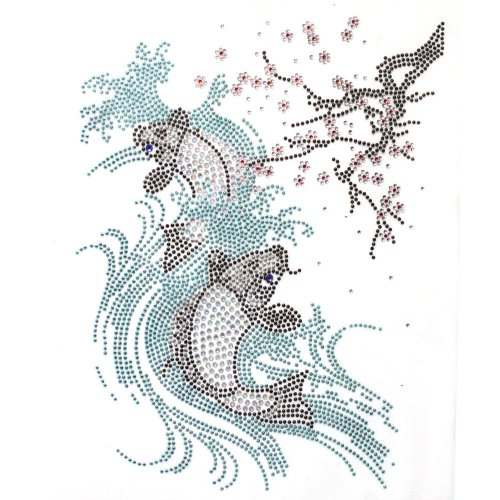 Rhinestone Iron Transfer Hot Fix Motif Crystal Cherry Blossom Fish Fashion Design 3 Sheets 7.6*10.2 Inch - Hot Fix Rhinestone Motif Iron