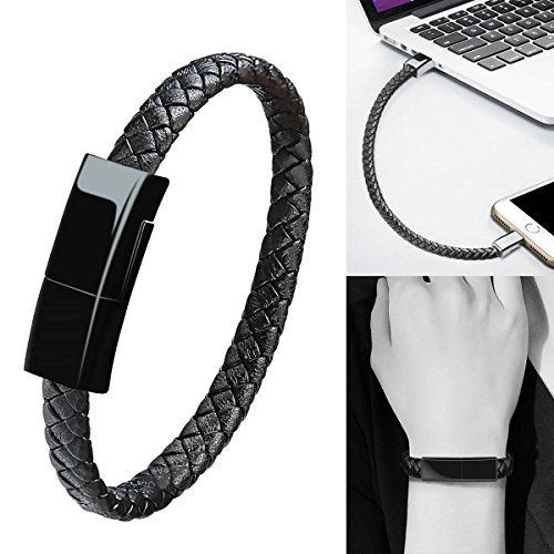 (Bracelet Charging Cable Data Sync/iPhone Lightning to USB A Cable Bracelet Durable Leather Braided Wrist Band Portable Short Charger Cord Cable iPhone iPad/iPod More - Black-7.9 inch)