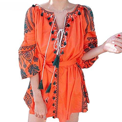 Robes Courtes Pompon Embroide Avec Ceinture Orange R.vivimos Femmes
