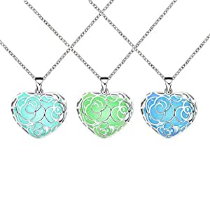 3 Pack Magical Heart Glow in the Dark Charms Pendant Necklace Bulk