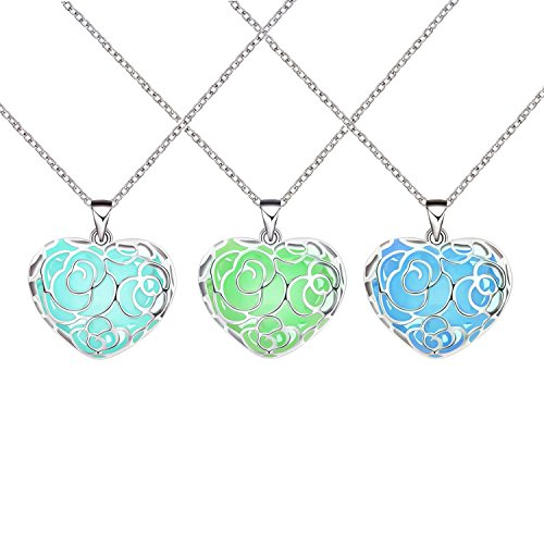 3 Pack Magical Heart Glow in the Dark Charms Pendant Necklace (Glow Necklace Wholesale)