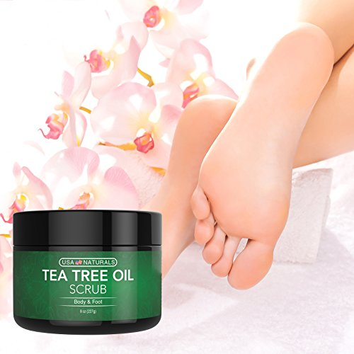 Tea Tree Oil Foot and Body Scrub - Antifungal Treatment - Exfoliating Scrub with a Unique Blend of Essential Oils - Smooths Calluses - Helps With Athlete's Foot, Acne, Jock Itch & Dead, Dry Skin by USA Naturals (Image #5)