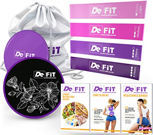 DeFiT Resistance Bands & Exercise Sliders - Exercise Bands & Sliders - Best 80 Day Obsession and Beachbody Set with 4 Workout Bands & 2 Core Sliders + Unique Workout iOS/Android App + Videos + eBooks
