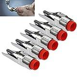 AMA(TM) 5Pcs Stainless Steel 1/2 PT Thread Pig Swine Hog Nipple Automatic Sheep Waterer Drinker Drinking (5)