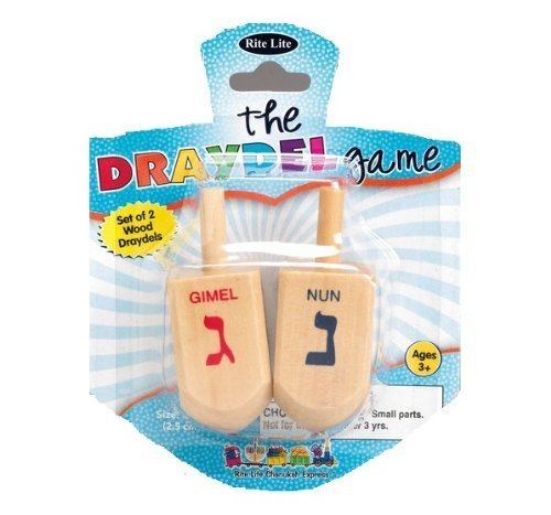 Chanukah Large Draydels - Natural Wood, The Dreidel Game
