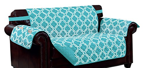 Kashi Home Aqua Print w/Strap and 2 Side Pockets-Loveseat Macy Reversible Furniture Protector, by Kashi Home