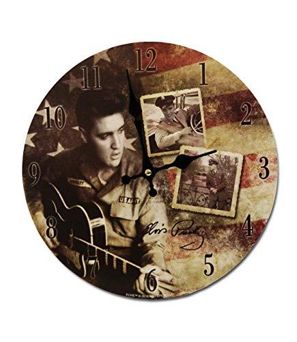 "Midsouth Products Elvis Presley Clock - Elvis Army Photos 11.75"" Diameter"