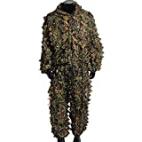 Polyester Durable Outdoor Woodland Ghillie Suit Kit Cloak Military 3d Leaf Camouflage Camo Jungle Hunting Birding