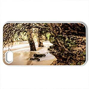 amazing trees growing in a stream and through a rock - for iPhone 4 and 4s (Rivers Series, Watercolor style, White)