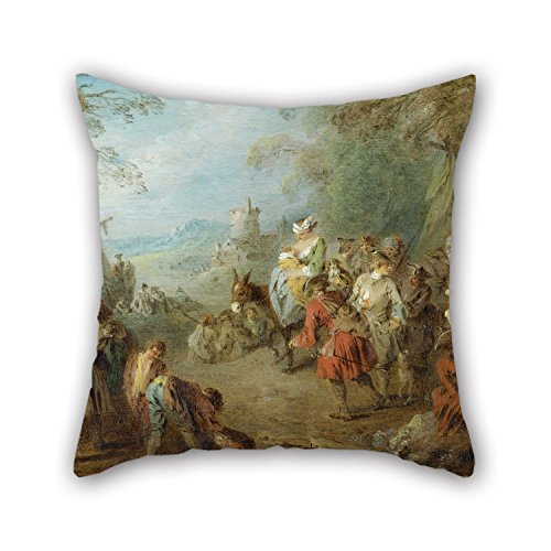 18 X 18 Inch / 45 By 45 Cm Oil Painting Jean-Baptiste Pater - Encampment (Soldiers' Halt) Throw Pillow Covers ,2 Sides Ornament And Gift To Dinning Room,monther,living - Sectional Palm Beach