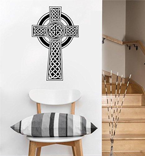 Celtic Cross Decal | Wall Sticker (Black, 22.5