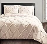 Is Cal King Bigger Than King Cloud Fino Soft Luxurious 3-Piece Pinch Pleated Pintuck Decorative 100% Egyptian Cotton 500 TC Duvet Set With Zipper ( Set Include 1 Pinch Duvet Cover & 2 Pinch Pillowshams )(Ivory!!King)
