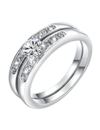 Yoursfs Wedding Ring Set 2 Rounds Cubic Zirconia Jewelry for Women Chirstmas Gift