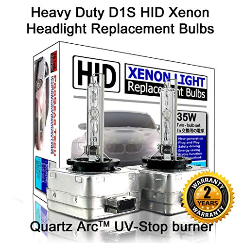 Heavy Duty D1S D1R HID Xenon Headlight Replacement Bulbs 35W High Low Beam (Pack of 2) (6000K Daylight -