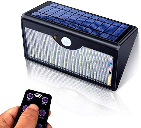 HVIKOV Motion Sensor Light Outdoor, 60 Led Solar, 5 Modes Remote Control,1300LM Waterproof Wide Angle, Wireless Super Bright Security Wall Lights for Driveway, Wall, Patio, Yard, Garden Black