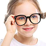 Kids Blue Light Glasses with Strap Computer and Gamer Eyewear Anti-Glare Protection Anti-Fatigue Anti UV Glasses for Smartphone Screens,Computer Or Tv Boys Girls Age 4-12(Round Black and Red Frame)