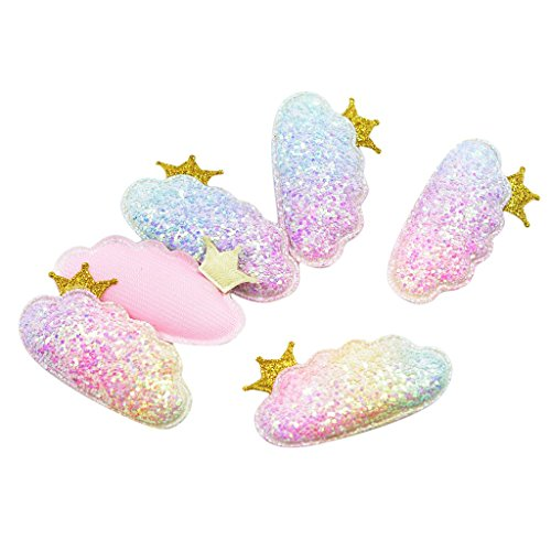 Homyl 6 Pieces Rainbow Colors Padded Cloud Crown Non-Woven Patches Glitter Felt Appliques Sew/Glue on Baby Girls Hair Bow Clips Accessories Clothing Shoes Decorations
