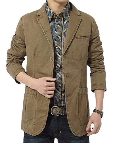 Chouyatou Men's Cotton Casual Slim Fit Suit Jacket (Large, HKhaki) by Chouyatou