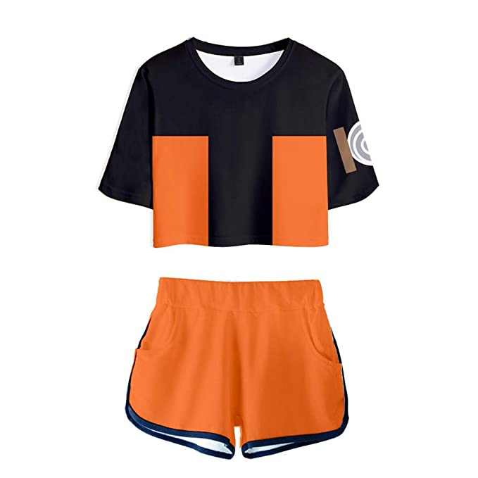 Naruto Cosplay Akatsuki Outfits for Women Crop Top T-Shirts and Shorts Tracksuit