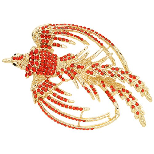 EVER FAITH Women's Austrian Crystal Flying Phoenix Rebirth Brooch Ruby Color Gold-Tone (Gold Tone Ruby Brooch)