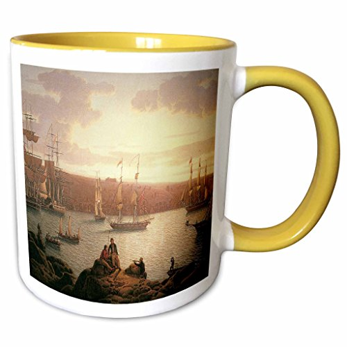 - 3dRose BLN Sailing Ships and Seascapes Fine Art Collection - Royal Naval Vessels off Pembroke Dock Milford Haven by Robert Salmon - 15oz Two-Tone Yellow Mug (mug_126829_13)