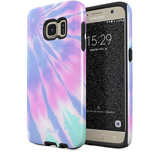 Glitbit Compatible with Samsung Galaxy S6 Case Tie Dye Trippy Colorful Swirl Ombre Holography Hippe Acid Trip Psychedelic Pastel Vaporwave Shockproof Dual Layer Hard Shell + Silicone Protective Cover -
