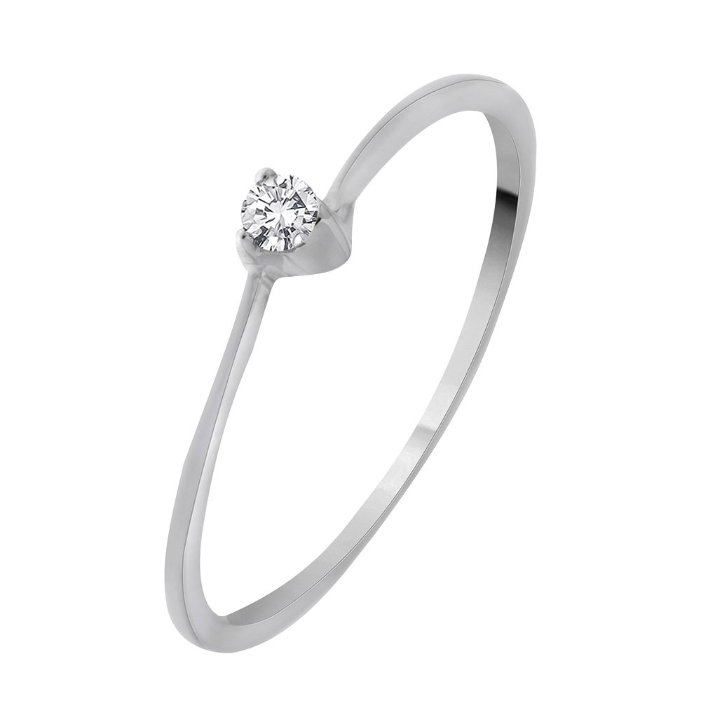 Diamond Promise Ring in Sterling Silver (1/10 cttw) (GH-Color, I2/I3-Clarity) (Size-3.75)