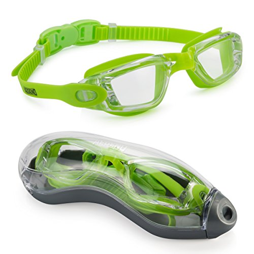 aegend Swim Goggles, Swimming Goggles No Leaking Anti Fog UV Protection Triathlon Swim Goggles with Free Protection Case for Adult Men Women Youth Kids Child, Clear Green