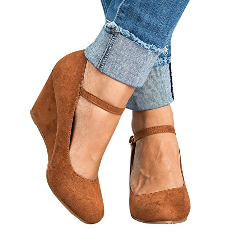 Syktkmx Womens Ankle Strap Mary Jane Wedges Pumps Closed Toe Spring Heeled Office Shoes Brown 6 B(M) US -