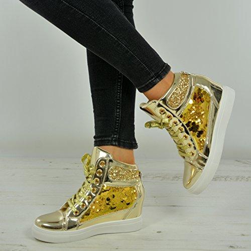 3 5 deporte 6 4 Reino Nuevas niñas Tamaño Mujeres Sparkle 2017 Glitter estrenar 8 para Plimsolls Moda 7 Wegde A damas Unido Oro Zapatillas Zapatos de Y1qAHRBn