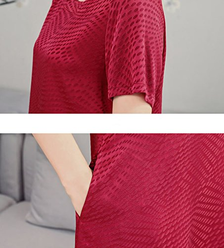 Kleider Seide Rot Damen DISSA Gestreift S2821 Cocktail Übergröße Midi Kleid Abendkleid BxH8Sq