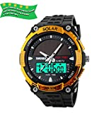 Solar Analog Digital Sport watch Dual Time Big Face Novelty Design Wristwatch 50M Waterproof Fits 15-22cm